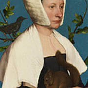 A Lady With A Squirrel And A Starling Art Print