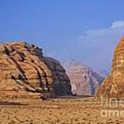 A Landscape Of Rocky Outcrops In The Desert Of Wadi Rum In Jordan Art Print by Robert Preston