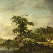 A Landscape With A Farm On The Bank Of A River Art Print