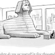 A Large Sphinx Sits In Front Of A Desk Art Print