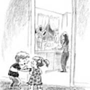 A Little Boy Speaks To A Little Girl Art Print