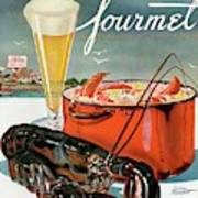 A Lobster And A Lobster Pot With Beer Art Print