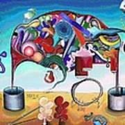 A Love Story/abstraction Of An Elephant Enhanced  Art Print