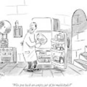 A Mad Scientist Removes A Jar From The Laboratory Art Print
