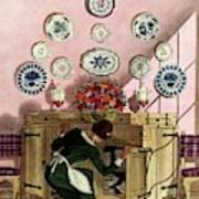 A Maid Getting China From A French Provincial Art Print