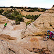 A Male And Female Mountain Biker Ride Art Print