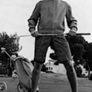 A Male Model Posing As A Golfer Wearing Art Print