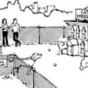 A Man And Dog Enter A Dog Run Art Print