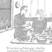 A Man And Wife Stand In The Kitchen Art Print