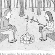 A Man And Woman Are Camping And The Woman Roasts Art Print