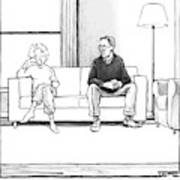 A Man And Woman Sit Next To Each Other On A Couch Art Print