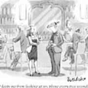 A Man And Woman Talk At The Bar Art Print