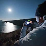 A Man Captures The Full Moon Art Print
