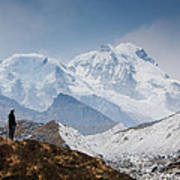 A Man Contemplates The Size Of Kanchenjunga Art Print