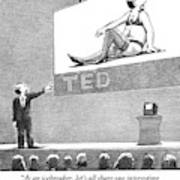 A Man Giving A Ted Presentation Points To An Art Print