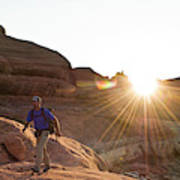 A Man Hiking In The Needles District Art Print