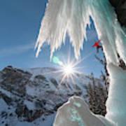A Man Ice Climbing Louise Falls Art Print