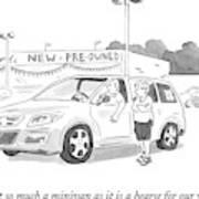 A Man In A Minivan Speaks To A Woman At A Car Art Print