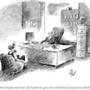 A Man Is Sitting Behind A Desk Talking To A Man Art Print