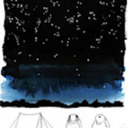 A Man Looks Up At The Night Sky Art Print