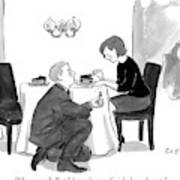 A Man Proposes To A Woman In A Restaurant Art Print