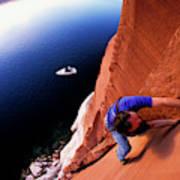 A Man Rock Climbing Art Print