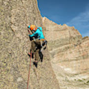 A Man Rock Climbing In Rocky Mountain Art Print
