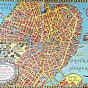 A Map Of Old Boston In The Commonwealth Of Massachusetts Art Print