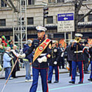 A Marine Band Marching In The 2009 New York St. Patrick Day Parade Art Print