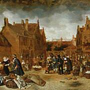 A Marketplace In Winter, 1653 Art Print