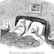 A Married Couple Talks In Bed Art Print