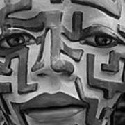 A Maze Ing Face Black And White Art Print