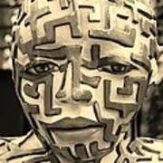 A Maze Ing Man 3 Sepia Art Print