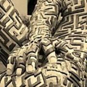 A Maze Ing Man 4 Sepia Art Print