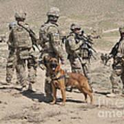 A Military Working Dog Accompanies U.s Art Print