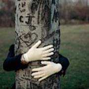 A Model Hugging A Tree Art Print