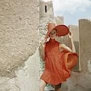 A Model Wearing A Orange Dress Art Print