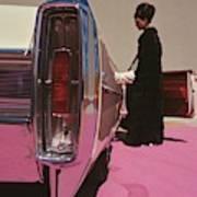 A Model Wearing Emeric Partos Entering A 1965 Art Print