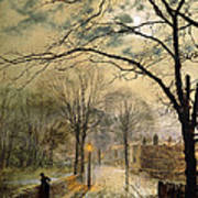 A Moonlit Stroll Bonchurch Isle Of Wight Art Print by John Atkinson Grimshaw