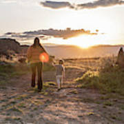 A Mother And Child Hike At Sunset Art Print