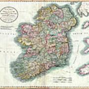 A New Map Of Ireland 1799 Art Print