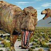 A Pack Of Tyrannosaurus Rex Dinosaurs Art Print