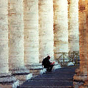 A Painting Alone Among The Vatican Columns Art Print