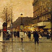 A Parisian Street Scene Art Print by Eugene Galien-Laloue
