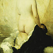 A Partially Draped Nude Art Print by Charles Chaplin