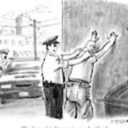 A Policeman Talks To A Man He Is Frisking Or Art Print