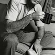 A Portrait Of Johnny Carson Sitting Art Print