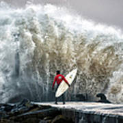 A Pro-surfer Waits For A Break In The Art Print