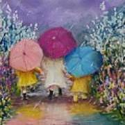 A Rainy Day Stroll With Mom Art Print