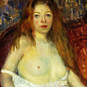 A Red-haired Model Art Print by William James Glackens